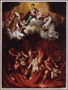 Heiligen pleiten bij de Madonna voor de verdoemden in de hel