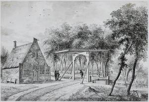 Landschap met brugwachtershuisje en ophaalbrug