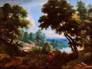 Boslandschap met rivier en reizigers