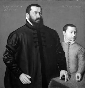 Portret van de goudsmid Hans Lencker (1523-1585) en zijn zoon