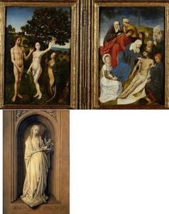 De zondeval (binnenzijde linkerluik), de Bewening (binnenzijde rechterluik); de H. Genoveva (buitenzijde linkerluik)