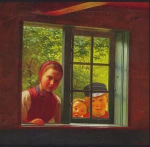 Drie kinderen, door een raam kijkend van buiten naar binnen