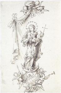 Ontwerp voor een beeld van zegevierende Maria met Kind
