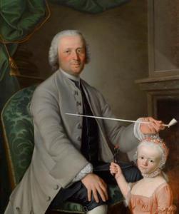 Portret van een man met een pijp en een meisje met een kooltje vuur