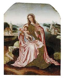 Maria met kind in een rivierlandschap