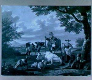 Landschap met vee, met twee herders en een vrouwtje met