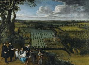 Portret van een familie, mogelijk de Van der Witte familie, voor hun landgoed; op de achtergrond Demesne