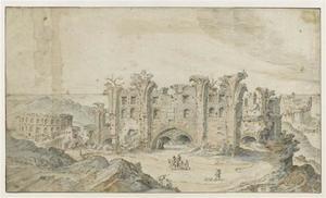 Landschap met een antieke ruïne en een amfitheater
