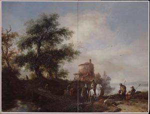 Landschap met jachtgezelschap bij een brug; op de voorgrond pelgrims en een moeder met een kind