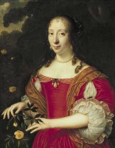 Portret van een vrouw met bloemen in haar handen