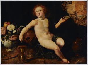 Putto met Vanitassymbolen, in de achtergrond de Verrijzenis van Christus