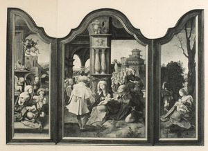 De aanbidding van de herders (links), de aanbidding van de Wijzen (midden), de rust op de vlucht naar Egypte (rechts)