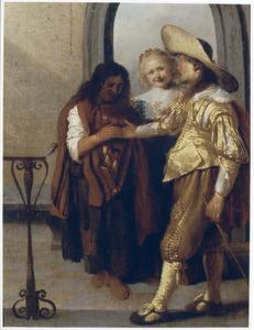 Een zigeunerin leest de hand van een rijk geklede jonge man