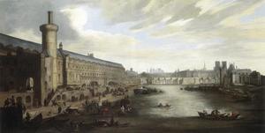 Gezicht op de Seine in Parijs vanaf de Pont Rouge (ter hoogte van de huidige Pont Royal) met van links naar rechts de houten Tour Charles V, het Louvre, de Pont Neuf, de torens van de Notre Dame, Sainte Chapelle, Saint Louis de Jésuites, Saint Gervais en Saint-Jean-en-Grève