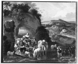 Zuidelijk landschap met herders bij een rivier