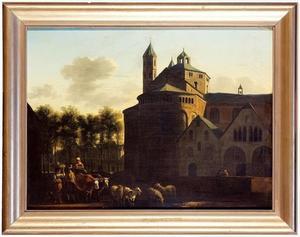 Gezicht op de St. Aposteln en de Neumarkt te Keulen