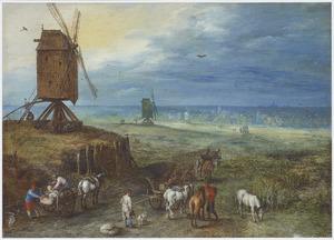 Uitgestrekt landschap met paarden en wagens bij een molen