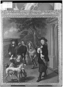 Portret van twee mannen met paarden, jachthonden en bedienden