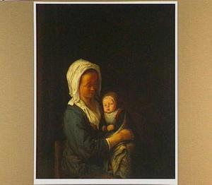 Vrouw met een baby op schoot
