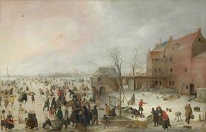 Winterlandschap met veel figuren met op de rechteroever een kasteel