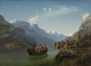 Een boottocht van een bruidspaar op het Hardangerfjord