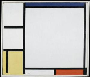 Composition with blue, yellow, red , and black
