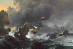 Schepen in moelijkheden voor een rotsachtige kust