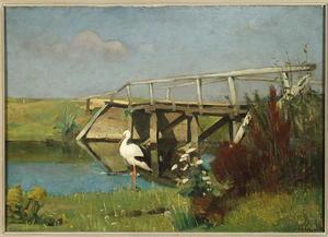 Weidelandschap met ooievaar en houten brug