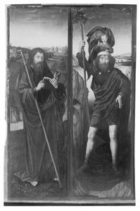 De H. Jacobus de Meerdere (links) en de H. Christoforus (rechts)