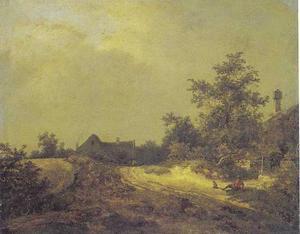 Landschap met enkele huizen aan een zandweg