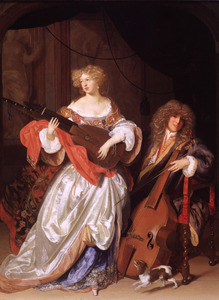 Jonge vrouw met een luit en jonge man met een viola da gamba in een interieur