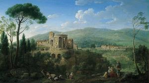 Gezicht op de tempel van de Sibylle te Tivoli