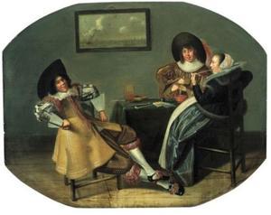 Rokende en kaartspelende jongemannen en een jonge vrouw aan een tafel
