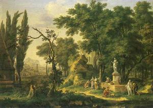 Arcadisch landschap met offeringen aan Flora
