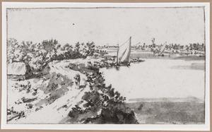 De rivier de Waal en de dijk bij Zuilichem met links het Huis te Zuilichem, rechts de molen van het dorp Herwijnen
