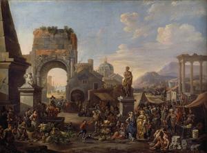 markt tussen antieke ruïnen