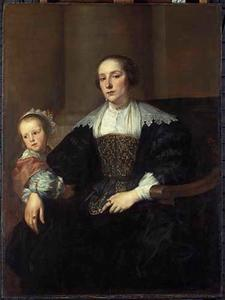 Portret van  Anna van Thielen (?-1639), echtgenoot van Theodoor Rombouts, en hun dochter Anna Maria Rombouts (1628-?)