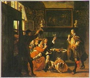 Feestende jongelui in een rijk interieur met goudleerbehang