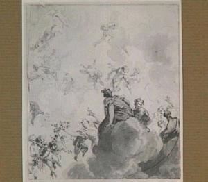 Wolkenlucht met putti en vrouwenfiguren