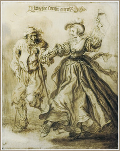 Elegante vrouw dansend met een bedelaar: 'Weelde soeckt ellende'