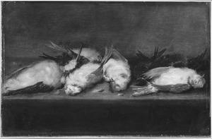 Stilleven van dode vogeltjes op een tafel