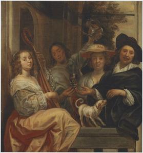 Groepsportret van vier personen op een terras met een schoothondje