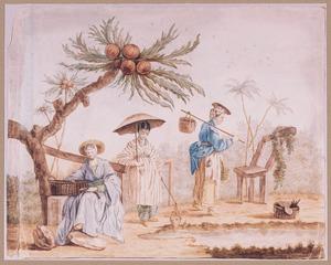 Genrevoorsting van drie vrouwenin in orientaals kostuum naast een palmboom
