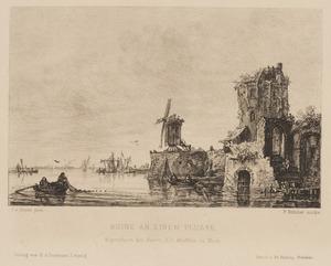 Rivierlandschap met een ruïne en een molen