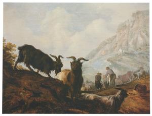 Berglandschap met drie geiten