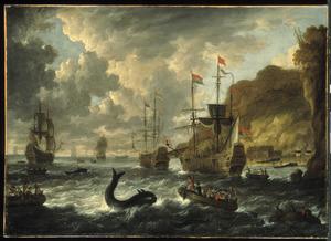 Zeegezicht met walvisjacht voor rotskust met een traankokerij
