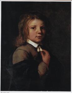 Portret van een jongen in een wambuis met kleine kraag met akertjes