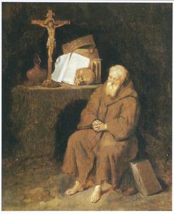 Een heremiet, biddend bij een crucifix