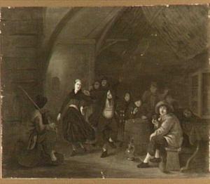 Boerengezelschap met doedelzakspeler en dansend paar in een herberg