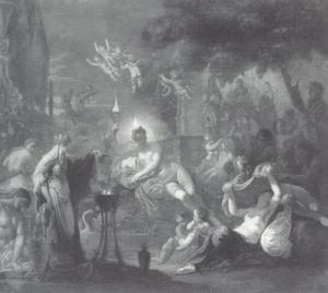 Medea verjongt de verzorgsters van Bacchus naar analogie van Aeson (Ovidious, Metamorfosen VII,294)